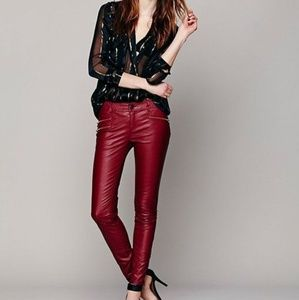 Free People Red Vegan Leather Skinny Pant size 0